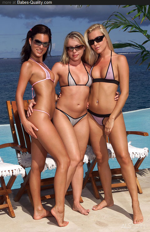 Three hot models in micro bikini.