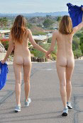 They walking naked on the street.